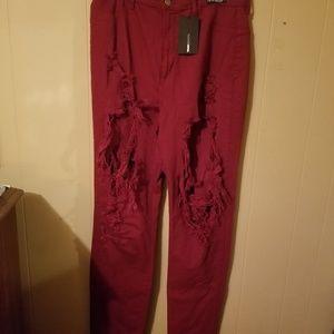Burgundy high waisted jeans